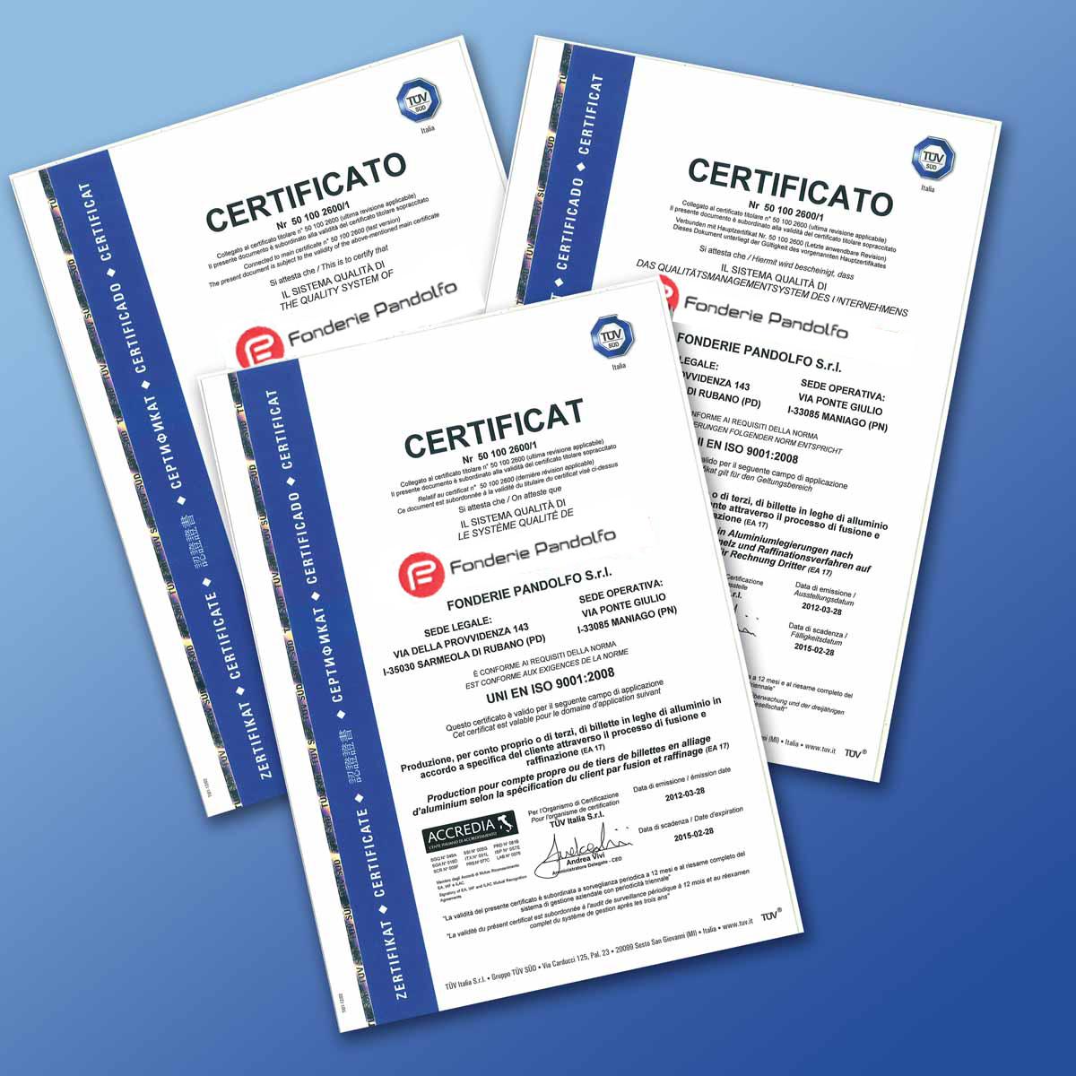 Certifications Fonderie Pandolfo